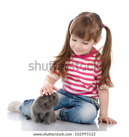 Baby girl with british kitten cat. isolated on white background
