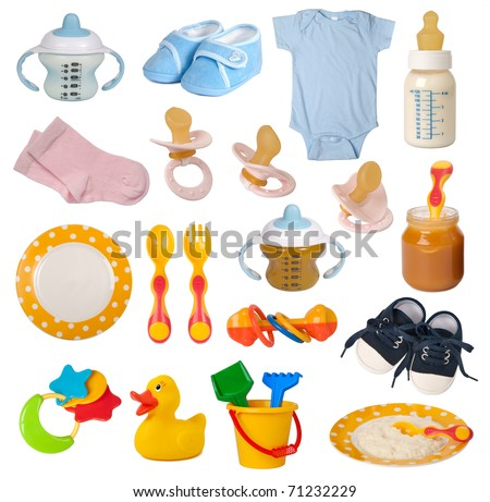 Baby goods isolated on white background