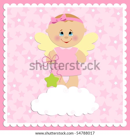 Baby greetings card with girl angel