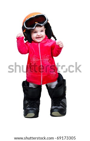Baby in clothes snowboarder in goggles and boots shows emotion