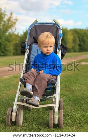 baby in stroller in the park