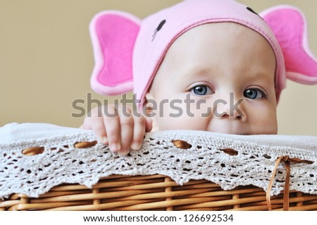 baby in the basket wearing funny hat
