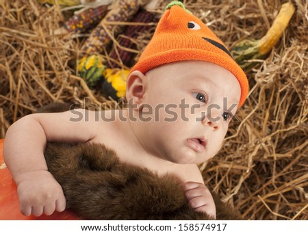Baby in the pumpkin during Halloween photo shoot