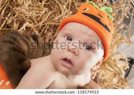 Baby in the pumpkin during Halloween photo shoot