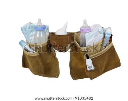 Baby items filling a leather tool belt for carrying items conveniently while working - path included