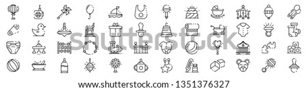 Baby items icons set. Outline set of baby items icons for web design isolated on white background