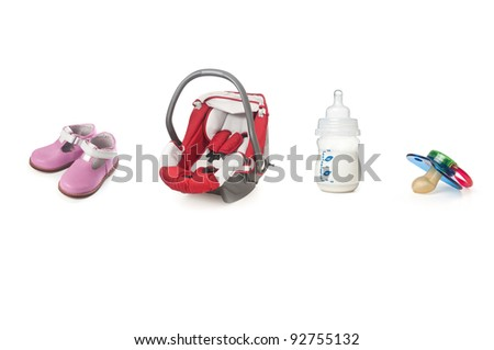 Baby items isolated on white