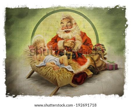 baby jesus and santa claus torn ...