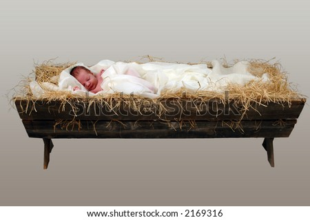 Baby Jesus in a Manger over neutral background (With Clipping Path)