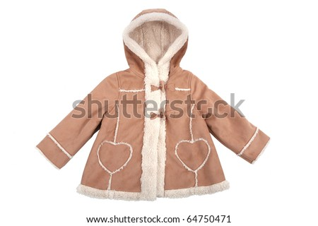Baby leather coat with fur isolated on white