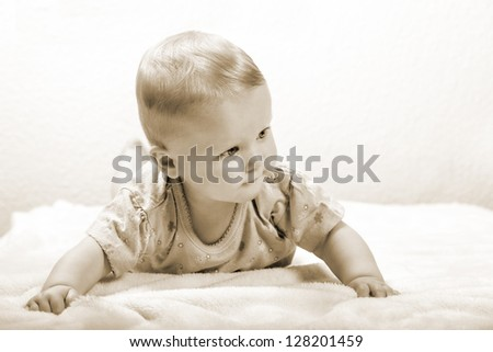Baby lying on stomach