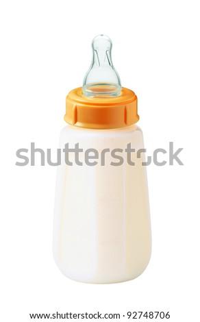 baby milk bottle isolated on white background
