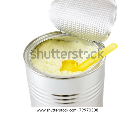 Baby Milk Formula with plastic measuring spoon. With Clipping Path.
