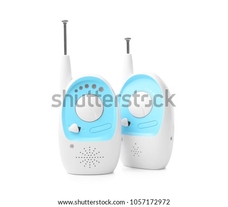 Baby monitor units on white background. Radio nanny #1057172972