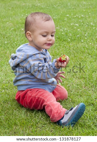 Baby or a toddler child eating strawberry while sitting on the grass in a garden.