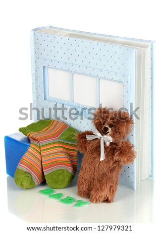 Baby photo album isolated on white - stock photo