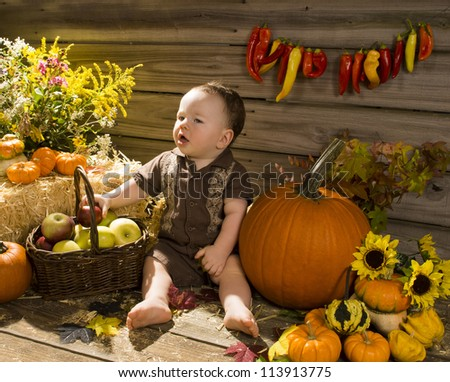 Baby playing in a wooden shed with with apples and pumpkins