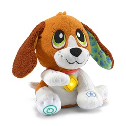 Baby Puppy Dog Stuffed Toy Isolated on White Background. Front Side View of Toddler Soft Plushies. Textile Stuffed Animals. Modern Fabric Plush Toys or Stuffies
