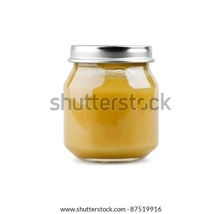 Baby puree on white background