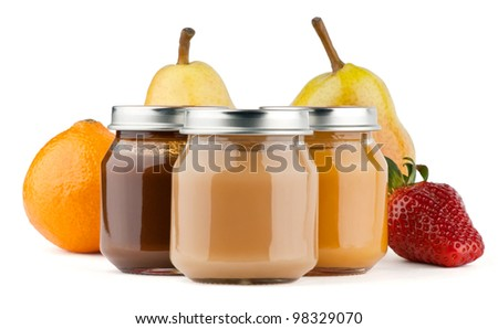 Baby puree with fruits on white background