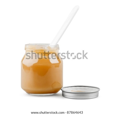 Baby puree with spoon on white background