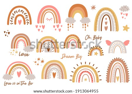 Baby rainbow set. Rainbow kids design pastel shapes Hand drawn cute rainbows collection doodle sweet elements.