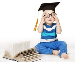 Baby Read Book, Smart Kid Boy in Glasses and Graduation Hat, Early Children Education, white background