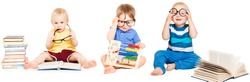 Baby Reading Book, Kids Early Education, Smart Children group in Glasses, isolated over white background