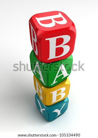 baby red blue yellow green colorful box toy tower on white background
