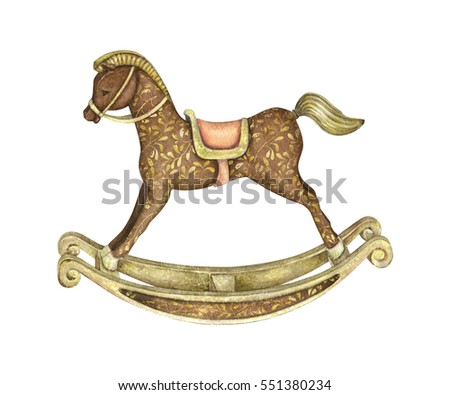 Baby Rocking Horse. Watercolor Photo stock ©