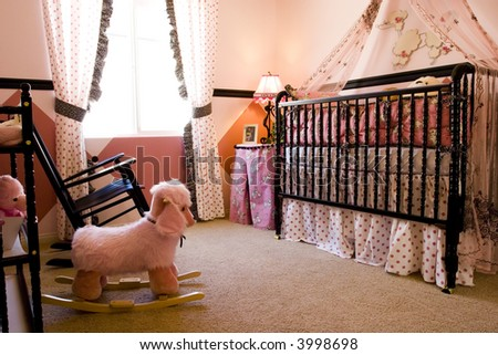 Baby's bedroom decorated in pink