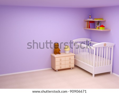 Baby's bedroom with commode and bear. Pastel colors, empty room