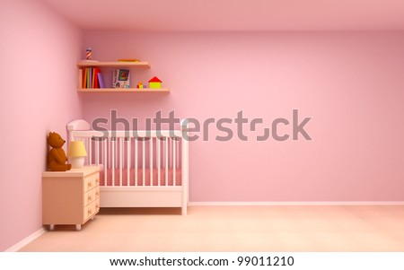 Baby\'s bedroom with commode and bear. Pastel colors, empty room