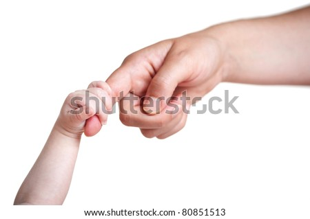 baby's hand holding finger of mother, isolated on white