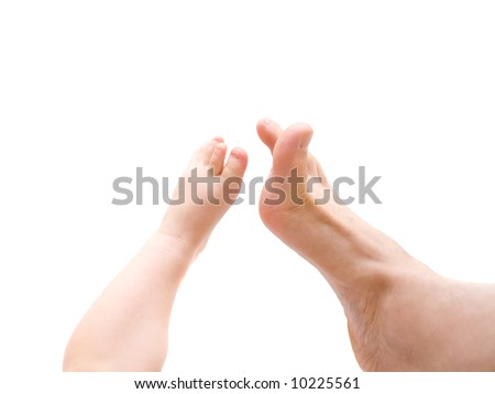 Baby's leg touch to father's leg. Connection people. Over white
