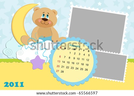 monthly calendar 2011 february. stock photo : Baby#39;s monthly