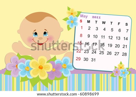Baby's monthly calendar for may 2011 - stock photo