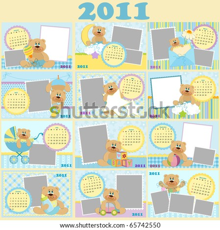Baby's monthly calendars for 2011