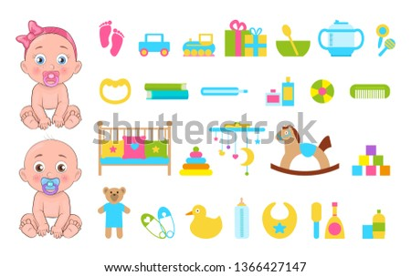 Baby s toys collection icons raster illustration of various playthings set two cute small infants girl and boy with horse car teddy bear yellow duck