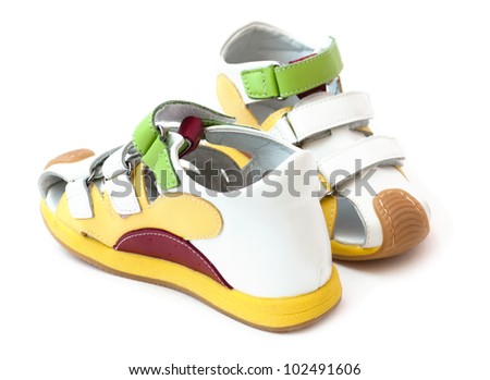 Baby sandals on a white background