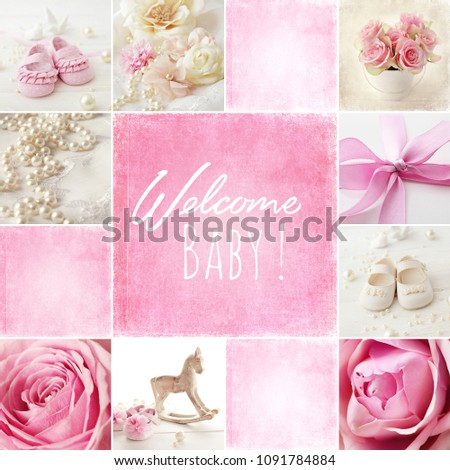 baby shoes collage, baby girl birth cad