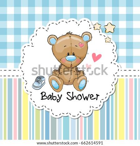 Baby Shower Greeting Card With Cute Cartoon Teddy Bear Ez Canvas
