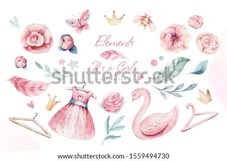 Baby shower kid swan watercolor girl design cartoon elements. Set of baby pink birthday balloon toy dress illustration. Newborn party invitation
