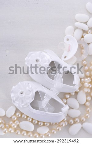 862de7b606b4 Baby shower neutral white background with baby booties