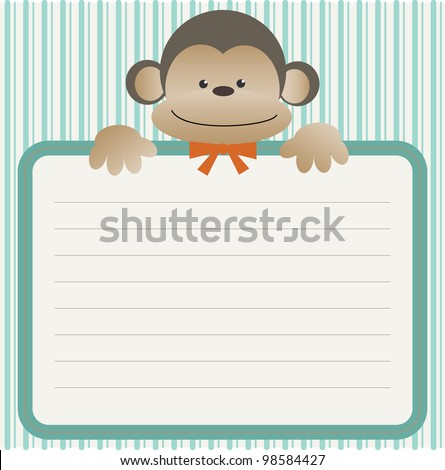 Baby shower with monkey - stock photo