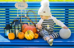 Baby sitting on the bench in courtyard and playing with pumpkins in warm autumn sunny day