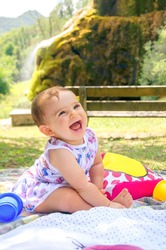 baby smile picnic playful weekend nature