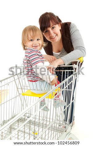 baby son in trolley with mother taking shopping, white background