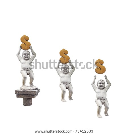 Baby statues holding aloft a golden dollar symbol above its head leading up to a pedestal for the concept of growing investment.