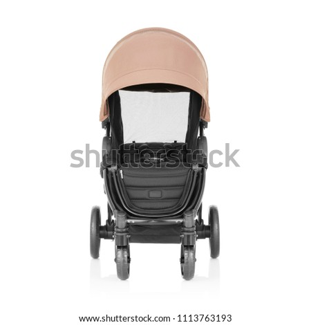 Baby Stroller Isolated on White Background. Front View of Travel System with Brown Canopy and Swivel Front Wheels. Infant Carriage Seat. Pushchair or Pram with Adjustable Showerproof Hood